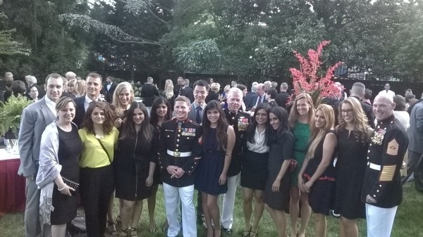 ISH Residents with Commandant General James Amos, Sergeant Major Michael P. Barrett and Corporal William Kyle Carpenter.