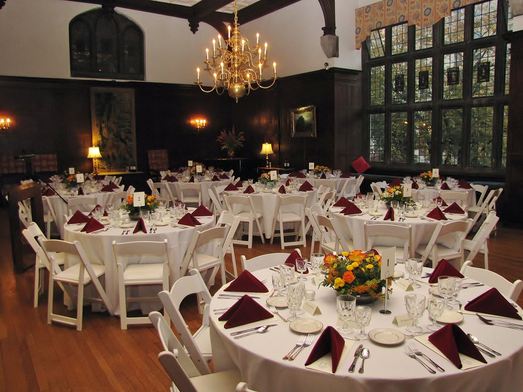 Great Hall set with tables for a formal dinner